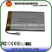 Custom lipo battery 3.7v 2000mah battery lipo 634169 rechargeable battery