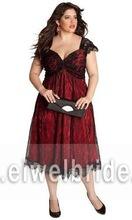 Tea length tulle black and red cap sleeve printed fat woman evening dress