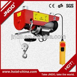 PA wire rope steel pulley/ mini lifting crane mini electric hoist 100kg