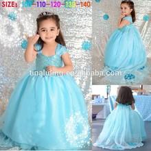 brand new baby girls blue frozen dress kids glitter tutu dress child wedding dress