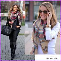2014 Hot Selling Tartan Plaid Blanket Scarf ,Square Pashmina Shawl
