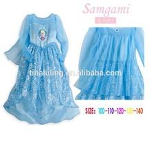 brand new girls snow glitter frozen dress kids party dress fancy dress for 7 years old