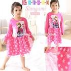 new long sleeve girls' dresses kids hot pink frozen dress child snow sparker tutu dress