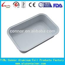 Medium Rectanglar Aluminium Foil White Coated Airline Food Container