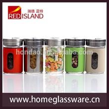 Glass Spice Jars Bottles Food Jar Stainless Steel Top Caps