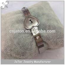 Titanium Heart Lock and Key Bracelet Bangle Jewelry