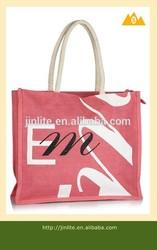Eco-friendly reusable pink jute shopping bag grocery bag