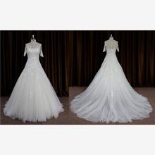 Popular off shoulder embroidery winter wedding dresses fur