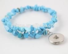 STOCK Alibaba China Fashion DIY interchangeable turquoise beads snap bracelet jewelry NAB049