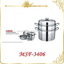 5pcs steamer set variety size 24cm 26cm 28cm 30cm 34cm 36cm surgical stainless steel steamer pot MSF-3406