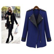 Women's Wool Leather Zipper Long Collar Jacket Coat 19666#