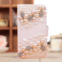 Handmade diamond Pearl Flower PU leather Case for iphone 5 5s iphone 4 4s case mobile phone bag