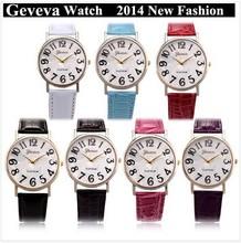 Top selling ebay and aliexpress leather watch geneva women watch