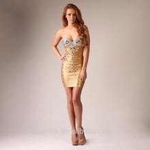 Gold beaded off shoulder elegant evening dress