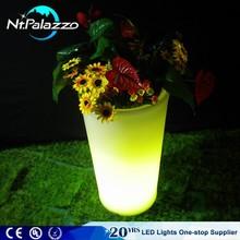 Plastic Outdoor Led Luminous Round Flower Pot Liners Led Planter