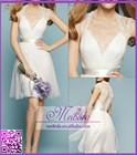 Mini Tulle Wedding Dress Short Sleeve Red and White Bridal Dress vestido de renda for Wedding Party