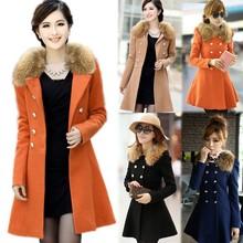 Women Woolen Winter Trench Double Button big fur coat fashion coat 2015 18508