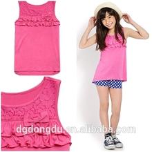 Latest sleeveless round neck ruffled trim child clothing,child chinese clothing