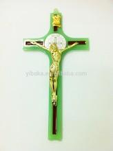 St Benedict METAL Crucifix. GLOWS IN THE DARK. Luminous enamel. Corpus.New InBox