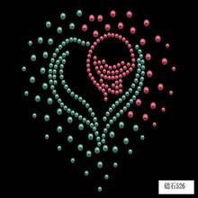 Colorful heart rhinestone transfers design