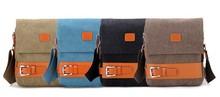 NEW ARRIVAL men canvas shoulder bag, retro female canvas messenger bag with leather trim
