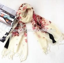 Beautiful cherry blossom printing pashmina 100% wool scarf