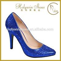 8mm women high heel shoes bule light PU evening shoes with acryl stone