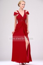 Best design red chiffon beaded v-neck backless sexy high thigh slit evening dress