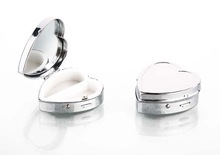 Promotional metal heart shaped pill organizer for travel