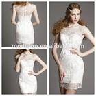 white simple women transparent neck short wedding dress/dresses with lace applique
