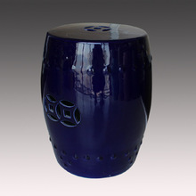 Modern decorative dark blue color Chinese ceramic stool for indoor from jingdezhen