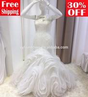 2015 Free shipping mermaid ruffles tiered beading sequined sweetheart organza wedding dresses 15076