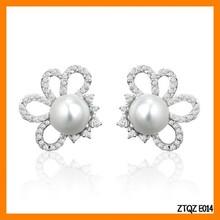 Elegant Zircon And Pearl 925 Silver Earring Wholesale