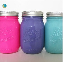 Painted Mason Jar. Neon bright . Vase. Home Decor. Neon. Summe