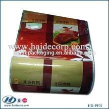 vivid printed food grade plastic material packaging film for Beijing roasted duck