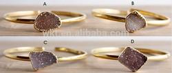 NEW!!Gogeous Natural double druzy agate bracelet in 24k gold plated ,goegeous druzy bracelet