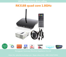 Quad core full hd 1080p porn video android tv box 4.4.2 RK3188 built in XBMC,Skype,Youtube 2MP/5MP camera google android tv box