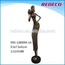 Uso doméstico decoração resina preta figuras africanas
