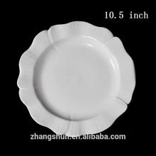 Stock white round flower ceramic dinner plate