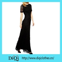 Wholesale cheap black long maxi lace dress for lady / woman / female 2015
