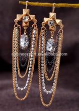 Wholesale 2014 New Arrival Rhinestone Cross Women Fashion Chain Tassel Turkish Dangle Earrings