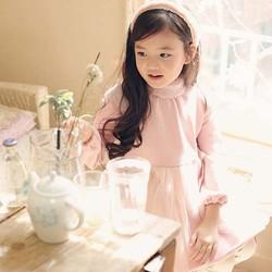 Tal1077 2014 winter Korean girls turtle neck plus velvet thickened kids beautiful dress