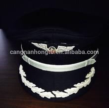 top quality of black pilot military officer peak cap