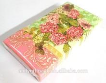 Customized 18gsm white tissue, 33x40 flower printed Guest dinner napkin