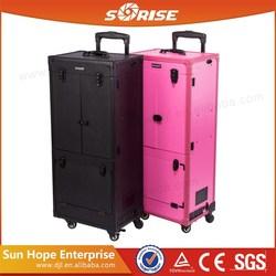 SUNRISE Wholesale Beauty Professional Hairdresser Hair Stylist PVC Lighted Makeup Train Case