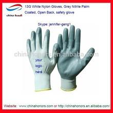 13G White Nylon Gloves Grey Nitrile Palm Coated Open Back safety glove