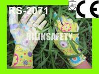RILIN SAFETY Colorful colour,Polka Dots Grip Garden Gloves,hand gloves for construction work CE certificate EN420 EN388