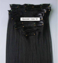 Heat Resistant Hairpieces Clip in Full Head Long Straight Hair Extension