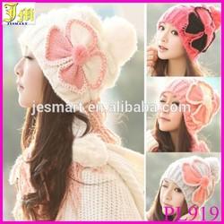 New Women's Winter Baggy Beanie Knit Crochet Ski Hat Flower slouch Cap Snow Hat Cheap