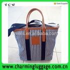 classical travel stripe canvas beach hand bag wholesale